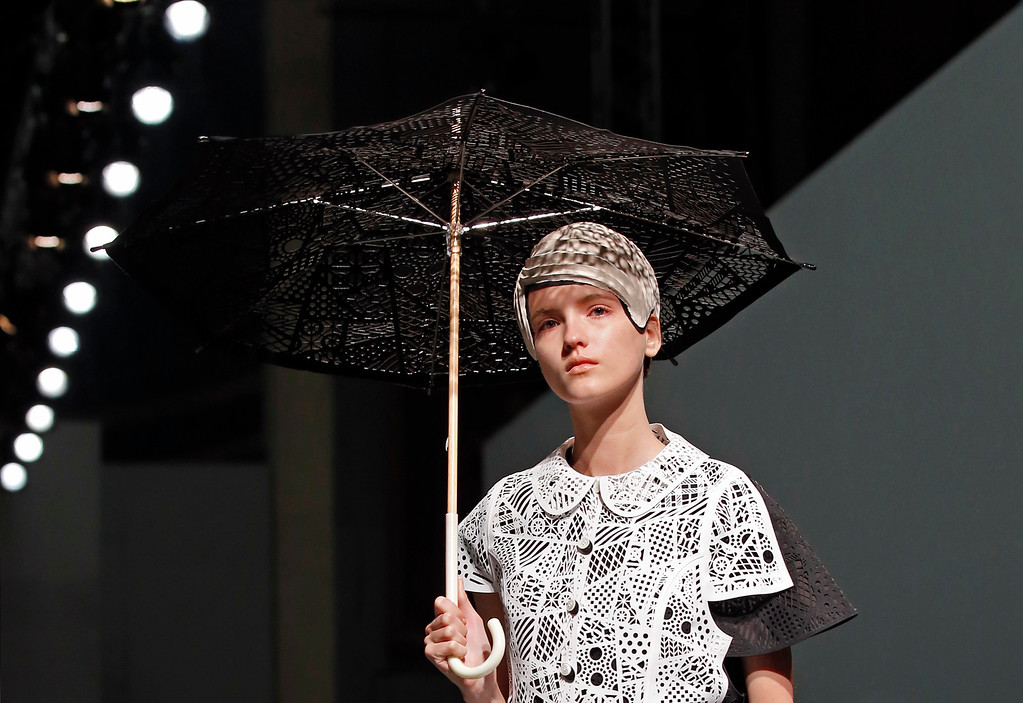 . A model presents a creation by Japan\'s fashion designer Kunihiko Morinaga for Anrealage\'s Spring-Summer 2015 ready-to-wear fashion collection presented in Paris, France, Tuesday, Sept. 23, 2014. (AP Photo/Francois Mori)