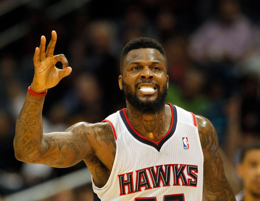 . Atlanta Hawks shooting guard DeShawn Stevenson (92) reacts after hitting a three-point basket during the second half of an NBA basketball  game against the Denver Nuggets, Wednesday, Dec. 5, 2012, in Atlanta. (AP Photo/John Bazemore)