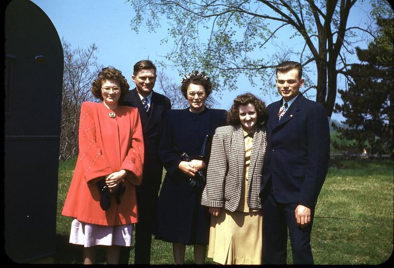 Janet Edberg, Evald Edberg, Hazel Edberg, Patricia Potwin, Elwin Edberg, estimated spring of 1947