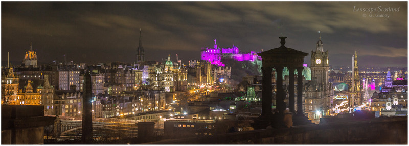 Edinburgh Castle and Old Town night-time panorama from Calton Hill (2)