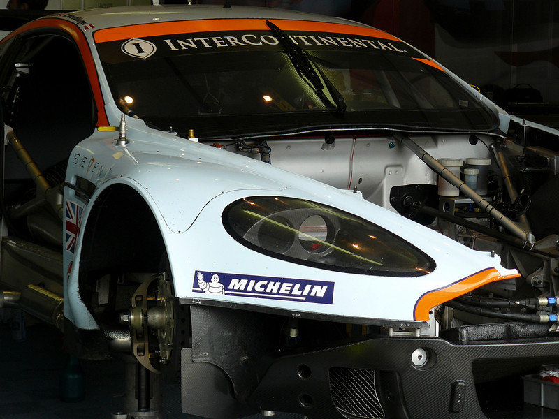 One of the Aston Martin's being prepared in the pits.