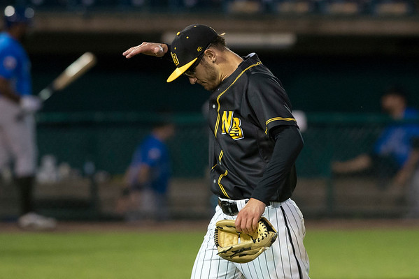 06/21/19 Wesley Bunnell | Staff The New Britain Bees defeated the Sugarland Skeeters 6-1 on June 21, 2019. Brandon Fry (20) motions after walking off the mound in the 8th inning.