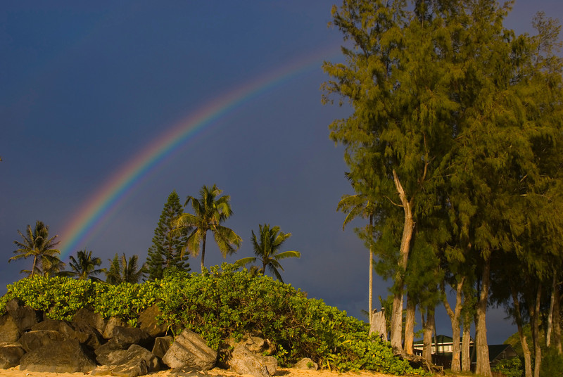 Rainbow over Paumalu North Shore of O'ahu, Hawai'i