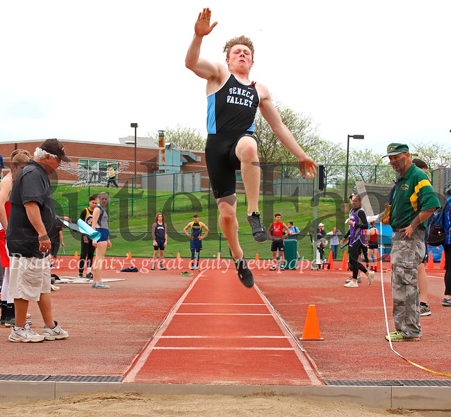 Seneca's Gavin Thomas finished second in long jump. He also anchored the 4x400 relay team which finished first in the event. Seb Foltz/Butler Eagle
