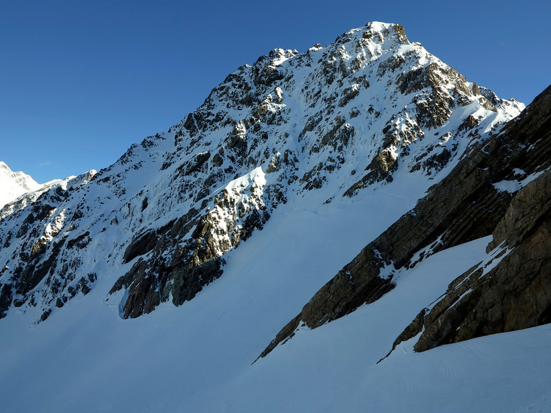 Pibrac from below. My ascent gully dead centre.