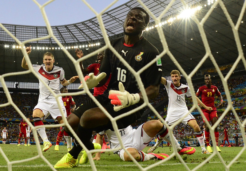 . Ghana\'s goalkeeper Fatau Dauda (C) fails to save a goal during a Group G football match between Germany and Ghana at the Castelao Stadium in Fortaleza during the 2014 FIFA World Cup on June 21, 2014. (JAVIER SORIANO/AFP/Getty Images)