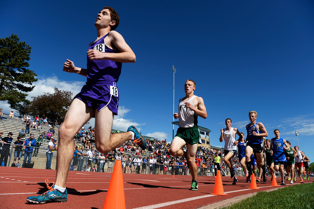 . LAKEWOOD, CO - May 19: Athletes head down track for the boys 5A 3200 meter run at the Colorado State High School Track and Field Championships at Jeffco Stadium May 19, 2016. (Photo by Andy Cross/The Denver Post)