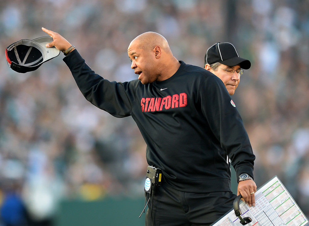 . Stanford head coach David Shaw is upset with the referees after a Stanford interception was overturned because of a penalty in the third quarter at the Rose Bowl, Wednesday, January 1, 2014. (Photo by Michael Owen Baker/L.A. Daily News)