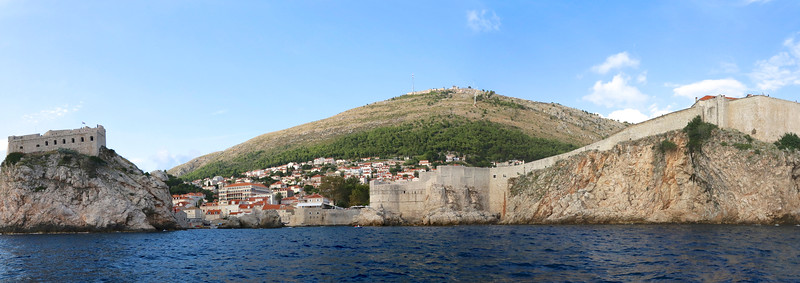 Great overview of Fort Lawrence (Lovrijenac) located outside the city walls at the western side of the Old Town, and the walls of the Dubrovnik, Croatia