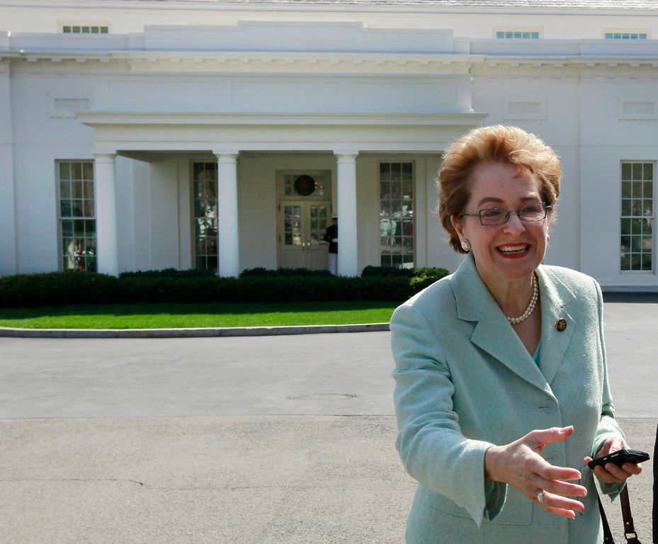 . Rep. Marcy Kaptur, D-Ohio leaves the West Wing of the White House in Washington, Wednesday, March 24, 2010, after President Barack Obama signed an executive order that reaffirms the Patient Protection and Affordable Care Act\'s consistency with longstanding restrictions on the use of federal funds for abortion. (AP Photo/Alex Brandon)