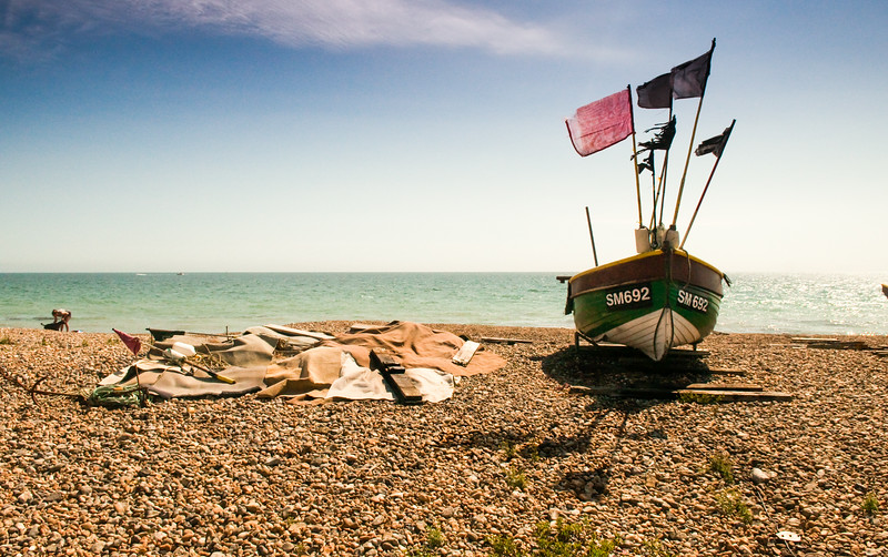 Fishing boat on Lancing Beach