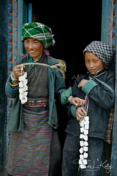 Tibetan Nomads from Tengri selling churpe( dried cheese