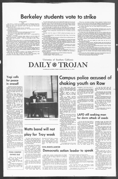 Daily Trojan, Vol. 60, No. 28, October 29, 1968