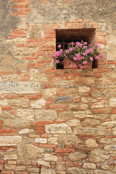Brick and Flowers , Lucignano D'Asso , Tuscany