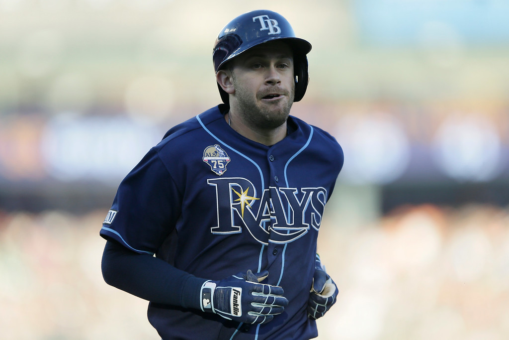 . Tampa Bay Rays\' Evan Longoria rounds the bases after his solo home run during the fourth inning of a baseball game against the Detroit Tigers in Detroit, Friday, July 4, 2014. (AP Photo/Carlos Osorio)