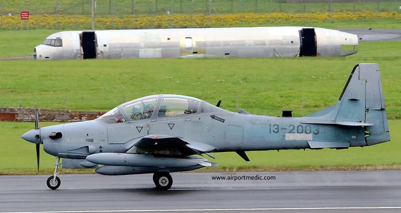 13-2003 Tucano A-29 Afgan Air Force @ Prestwick Airport (EGPK)