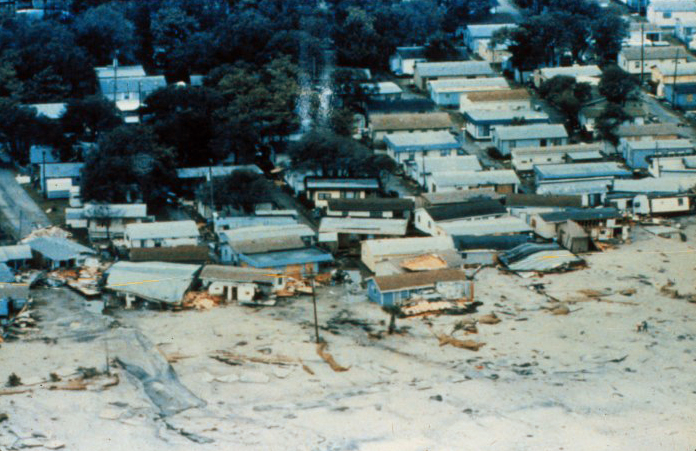 . Damage to manufactured and mobile homes at Surfside Beach, South Carolina After passage of Hurricane Hugo in 1989. National Hurricane Center. NOAA\'s National Weather Service (NWS) Collection