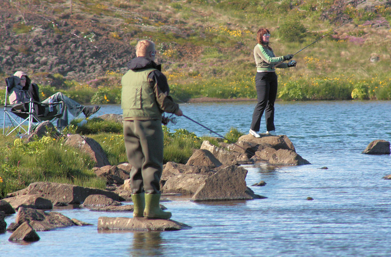 Lake fishing for trout or artic char