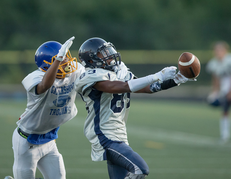 August 29, 2019 - The pre-season Magruder passing game missed by inches on this long pass during the scrimmage against Gaithersburg. Photo by Mike Clark/The Montgomery Sentinel