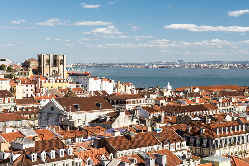 Lisbon cityscape and cathedral