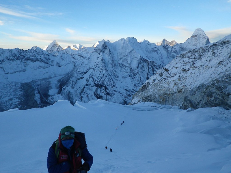 Climbing Island Peak (20,305ft = 6.189m). Ama Dablam (22,493ft = 6.856m) on the horizon to the right. Lovraj from India was with me.