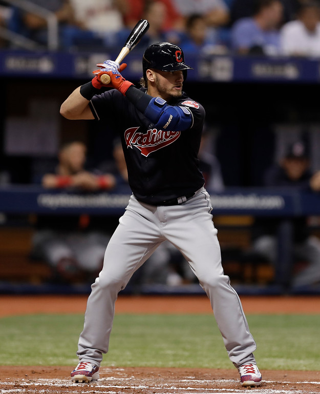 . Cleveland Indians\' Josh Donaldson bats against the Tampa Bay Rays during the second inning of a baseball game Tuesday, Sept. 11, 2018, in St. Petersburg, Fla. (AP Photo/Chris O\'Meara)