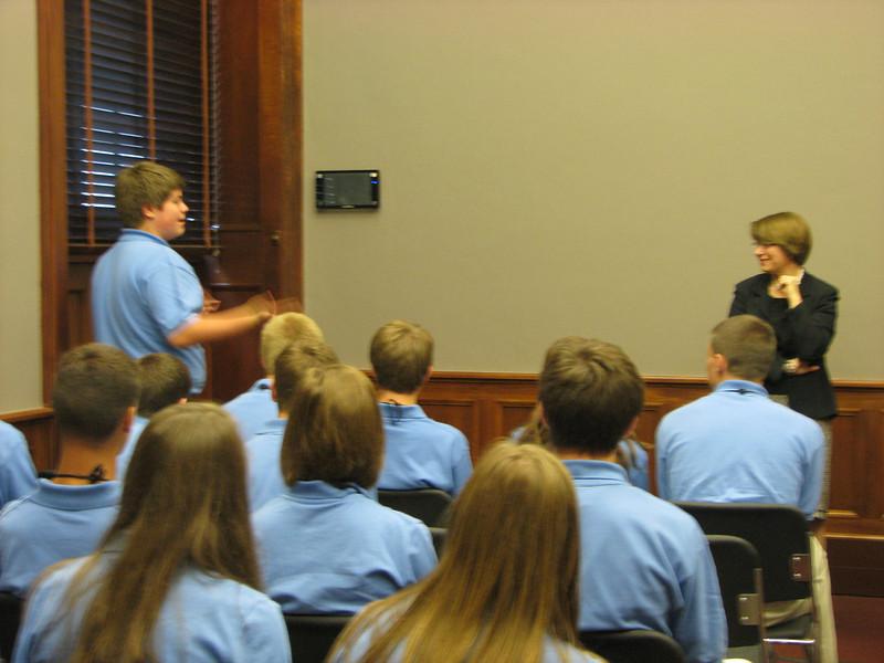 Dan talking with Senator Klobuchar.