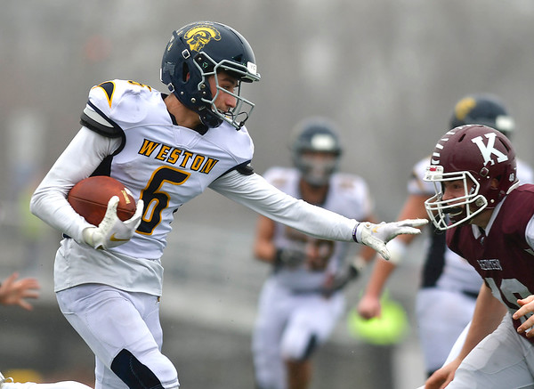 12/14/2019 Mike Orazzi | Staff Weston's John Cassol (6) during the Class M State final at Veteran's Stadium in New Britain on Saturday.