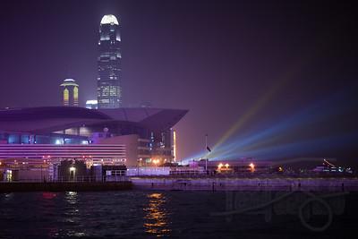 Hong Kong harbor at New Years Eve