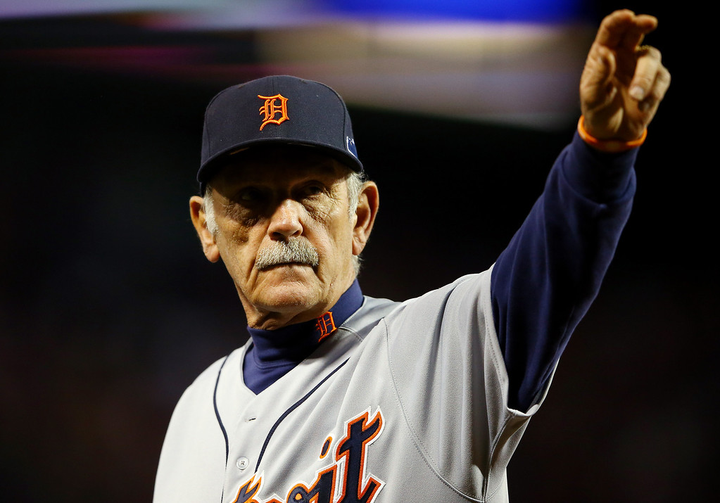 . BOSTON, MA - OCTOBER 12: Jim Leyland #10 of the Detroit Tigers walks back to the dugout after defeating the Boston Red Sox 1-0 in Game One of the American League Championship Series at Fenway Park on October 12, 2013 in Boston, Massachusetts.  (Photo by Al Bello/Getty Images)