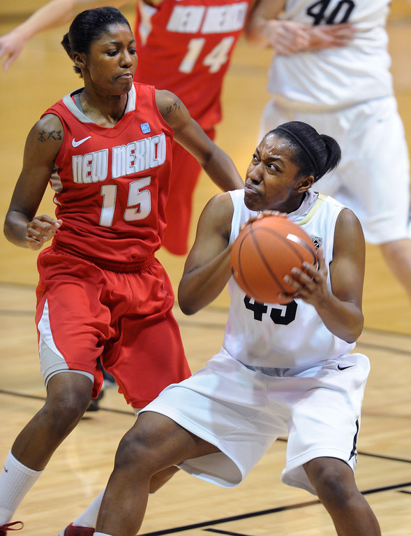. Ky Weston of CU drives on Antiesha Brown of UNM, during the first half of the December 29, 2012 game in Boulder. Cliff Grassmick / December 29, 2012