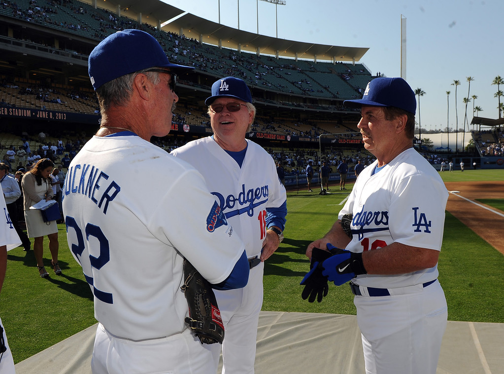 . FormerLos Angeles Dodgers Bill Buckner, left, with Bill Russell and Ron Cey during the Old-Timers game prior to a baseball game between the Atlanta Braves and the Los Angeles Dodgers on Saturday, June 8, 2013 in Los Angeles. 