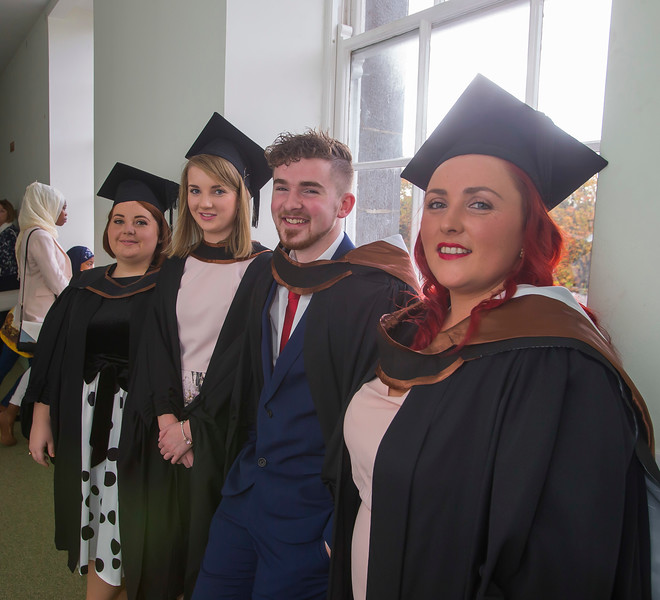 28/10/2015. Waterford Institute of Technology Conferring, Alexandra Hanlon, Waterford, Brid Hartnett, Fermoy Co. Cork,  Liam Hartigan, Waterford and Ashley Hayes, Dungarvan who graduated BA (Hons) in Psychology.  Picture: Patrick Browne