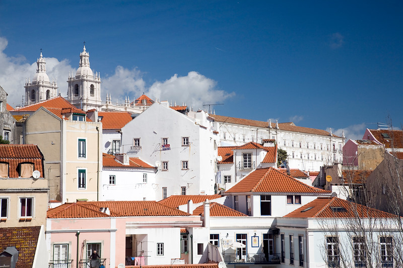 View of Lisbon from Santa Luzia viewpoint, with the twin towers of Sao Miguel church on the left.