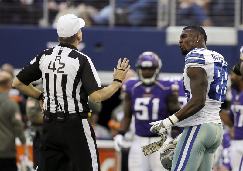 . <p><b> Cowboys at Saints (-7):</b> <p>Dez Bryant had another tantrum against the Vikings on Sunday, earning a penalty for pulling his helmet off and arguing with an official. It didn�t come back to haunt the Cowboys, though, since they were playing such feeble opposition. <p>Pick: <b>Saints by 11</b> <p>    (AP Photo/Tim Sharp)