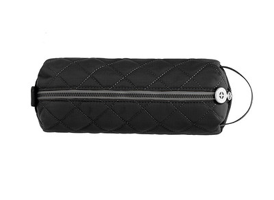 black pencil case with zipper and strap
