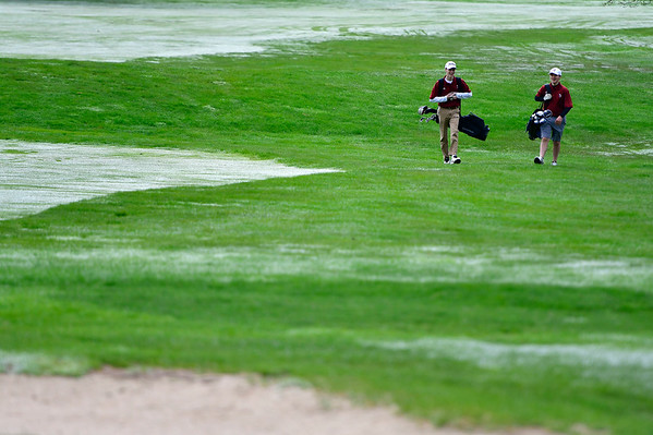 4/30/2019 Mike Orazzi | Staff Bristol Central's Richard Aubin and Austin Salzillo during Tuesday's match with Bristol Eastern at Chippanee Golf Club.