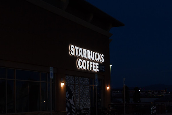 Starbucks Full Exterior & Signs Day Night