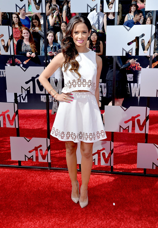 . TV personality Rocsi Diaz attends the 2014 MTV Movie Awards at Nokia Theatre L.A. Live on April 13, 2014 in Los Angeles, California.  (Photo by Michael Buckner/Getty Images)