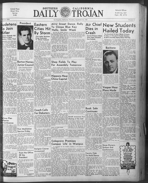 Daily Trojan, Vol. 30, No. 4, September 22, 1938