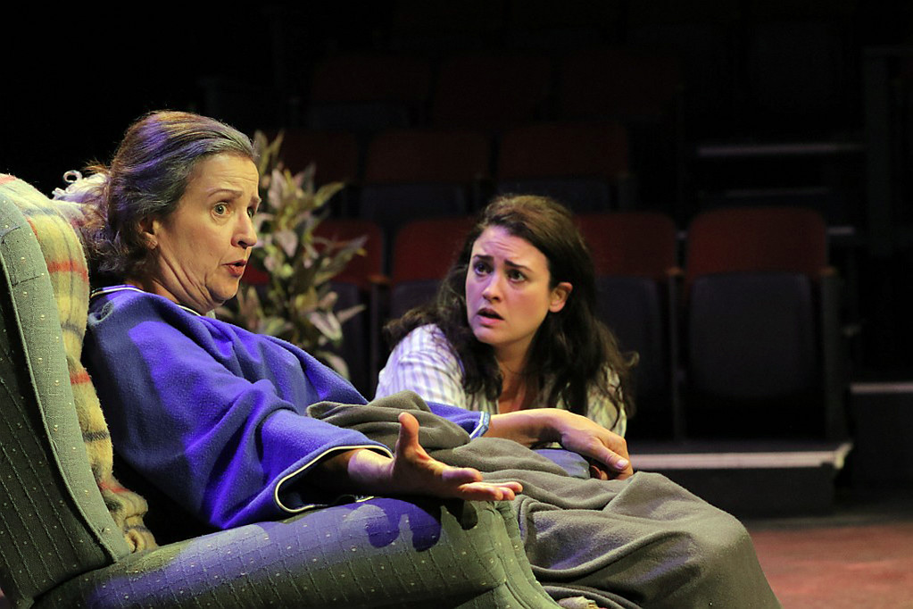 . Laura Starnik, left, as Ann Kron and Lara Mielcarek, as Lisa Kron, performa scene in the Ensemble Theatre production of �Well.� The show continues through Oct. 22 at the Cleveland Heights theater. For more information, visit www.ensembletheatrecle.org. (Gabe Schaffer)