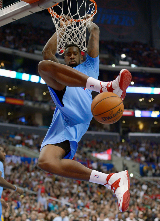. Los Angeles Clippers center DeAndre Jordan dunks during the second half of an NBA basketball game against the Indiana Pacers, Sunday, Dec. 1, 2013, in Los Angeles. (AP Photo/Mark J. Terrill)