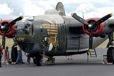 """Collings Foundation Planes (Consolidated B-24J Liberator """"Witchcraft"""", Boeing B-17G Flying Fortress """"Nine O Nine"""" & North American TP-51C Mustang """"Betty Jane"""") at the Bremerton Airport - June 2012"""