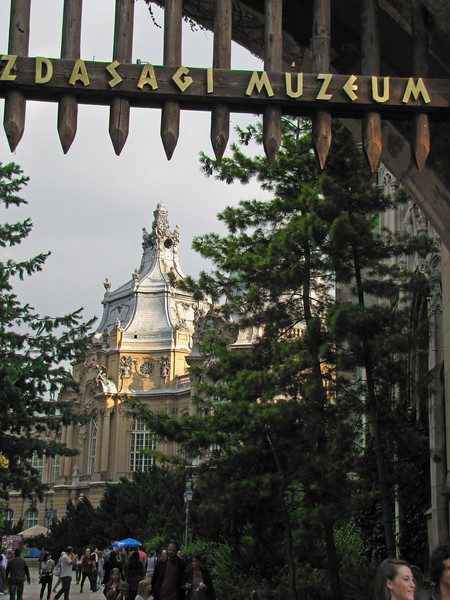 79-Through the portcullis to the museum. The castle mixes several architectural styles and houses the Museum of Hungarian Agriculture.