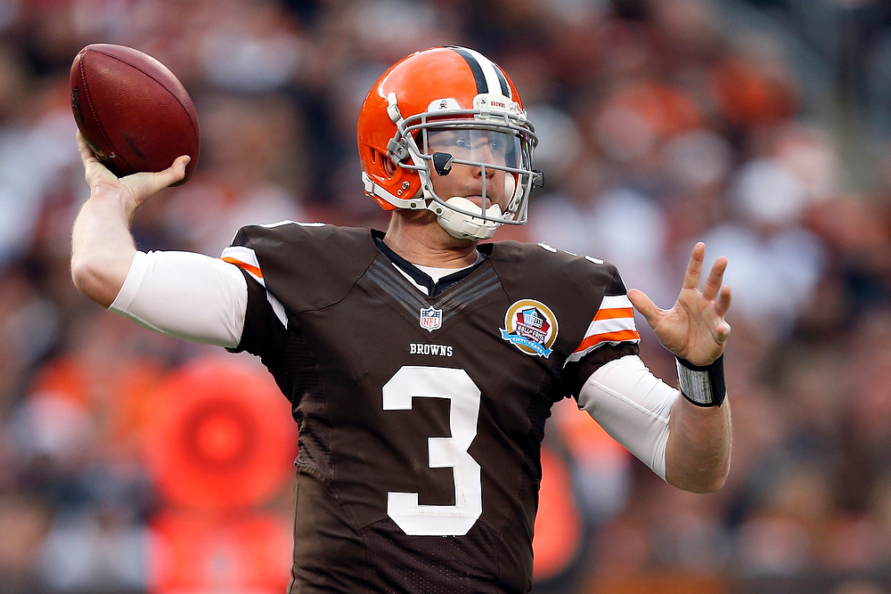 . Cleveland Browns quarterback Brandon Weeden passes against the Washington Redskins in the third quarter of an NFL football game on Sunday, Dec. 16, 2012, in Cleveland. (AP Photo/Rick Osentoski)