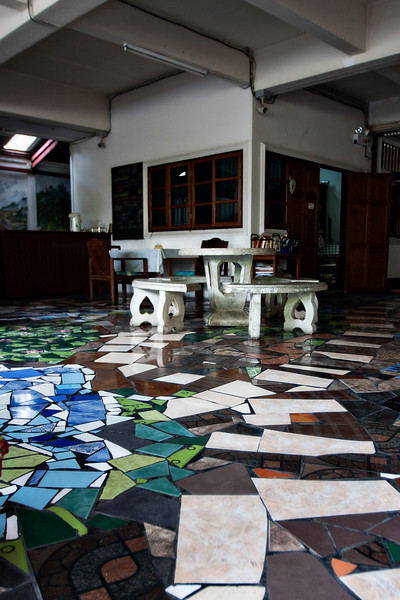 The really cool tile floor job in the entry of our guesthouse.