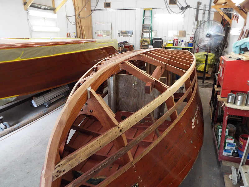 Starboard front view of the new frames coated.