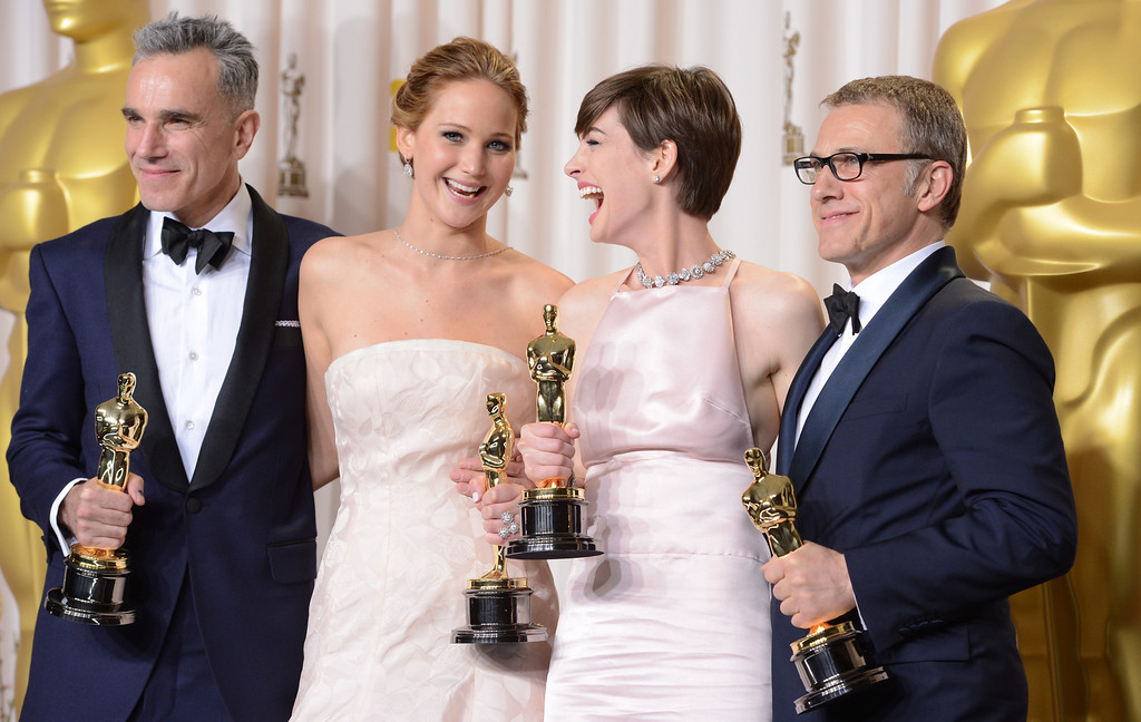 . Oscar winners Daniel Day-Lewis, Jennifer Lawrence, Anne Hathaway  and Christoph Waltz  backstage at the 85th Academy Awards at the Dolby Theatre in Los Angeles, California on Sunday Feb. 24, 2013 ( David Crane, staff photographer)