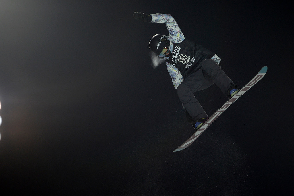 . Kelly Clark performs during the women\'s snowboard half pipe final. Winter X Games on Saturday, January 24, 2015. (Photo by AAron Ontiveroz/The Denver Post)
