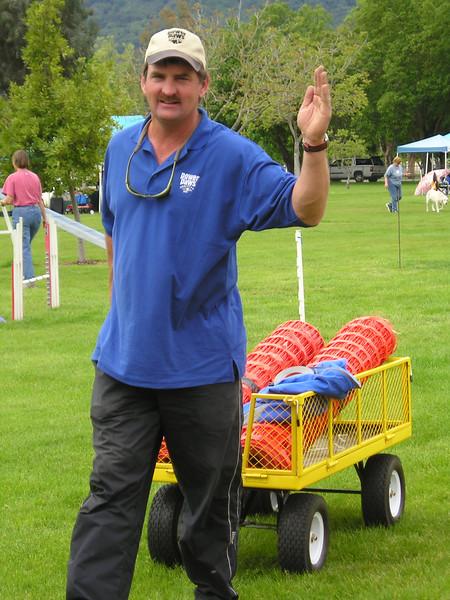Jim Basic pulling a wagon